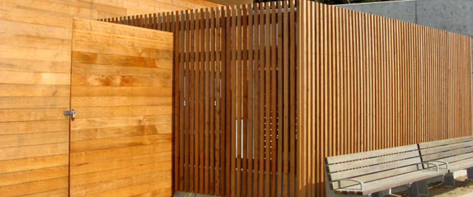 Closeup of North Cal Reclaimed Redwood Siding-Fencing-Lands End Lookout - Lands End Lookout Visitor Center - San Francisco - North Cal Wood