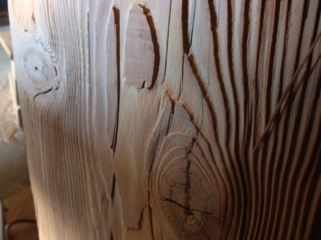 Heavy Sand Blasted Douglas Fir Timber. Wood Surfaces and Finishes